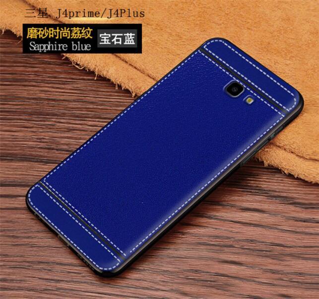 J4 Plus Case Leather Texture Soft TPU Back Case For Galaxy J4 Plus J4+ cover For Samsung Galaxy J4 Plus J 4 Plus cover case