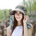 Moda Rosto Proteção Chapéu de Sol Verão 2017 Chapéus Para Mulheres Chapéu Do Verão Dobrável Anti-UV Ampla Grande Brim das Mulheres Ajustáveis