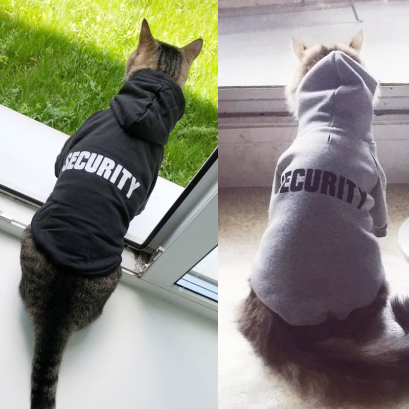 Security Cat Clothes Pet Cat Coats Jacket Hoodies For Cats Outfit Warm Pet Clothing Rabbit Animals Pet Costume 12b20s3
