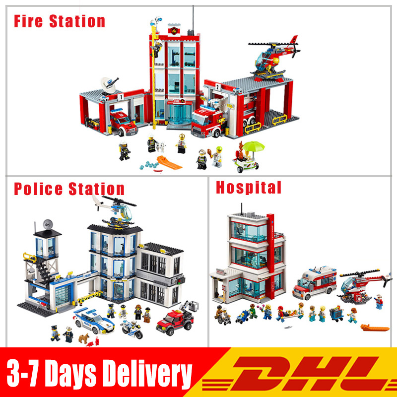 Lepin City 02020 Police Station+ 02052 Fire Station +02113 Hospital Model Building Blocks Bricks Educational kids Toys Gifts