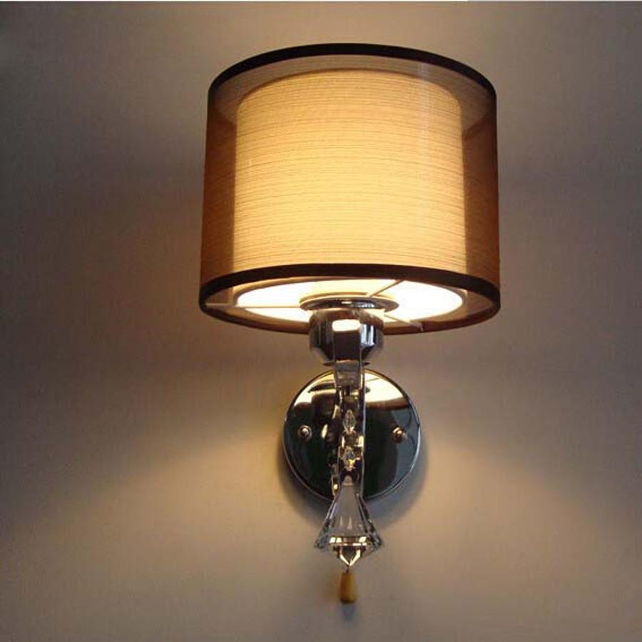 Wall night lamp online india - India Gauze Elegant Interior Lighting Led Wall Lamp Aisle Decoration Hotel Double Cloth Lampshade Led Wall