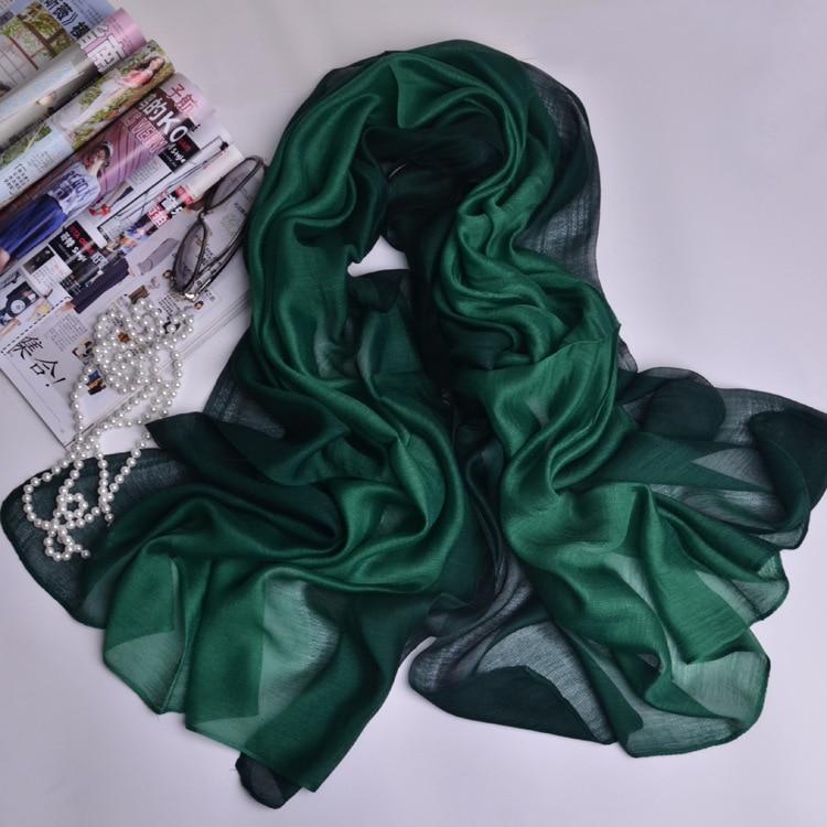 Women Silk   Scarf   Gradient Color Print   Scarves     Wraps   Sunscreen Shawl High-quality Female Foulard Satin Shawls Hijab 200*88cm