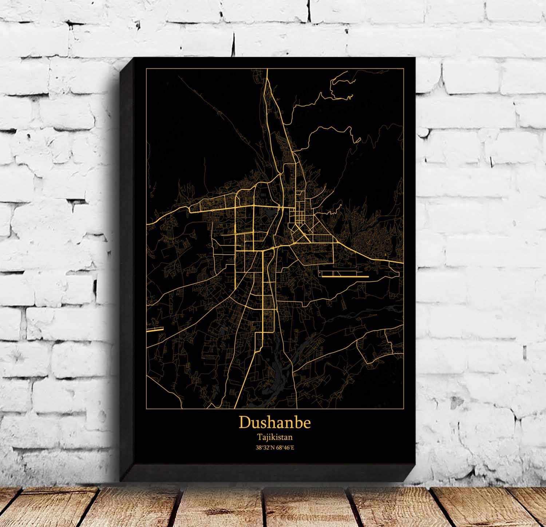 Póster de mapa de Dushanbe
