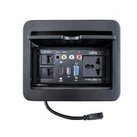 Slide Up Multimedia Desktop Socket Hidden Information Box For Hotel HDMI VGA USB Ports Multi function Socket