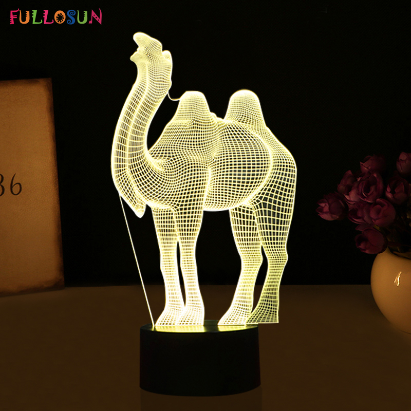 Funny Camel 3D LED Lights 3D 7 Colors Night Light LED Lamp with Touch Btton Lights