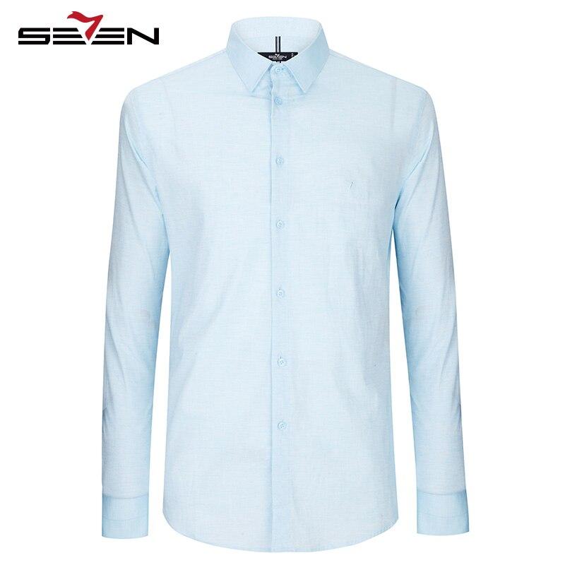 7e716dfe73 Seven7 Marca Camisas Vestido Casuais Algodão Vintage Camisa Smoking Camisa  Masculina manga longa camisa social masculina Camiseta Masculina Mens  Camisas ...