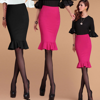 Summer Autumn Bodycon Midi Skirt Pencil Red Skirt Plus Size Skirts Short Fishtail Skirt Saias Retro Vintage Mermaid Maxi Skirts