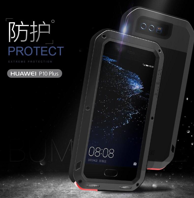 Цена за Huawei P10 плюс Дело ЛЮБОВЬ МЭЙ Шок Призма Водонепроницаемый Металла Броня Алюминиевый Силиконовый Чехол P10 Плюс Закаленное Стекло