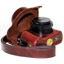 بو حقيبة جلدية الحال بالنسبة لباناسونيك lx100 LUMIX LX100 DMC LX100 الكاميرا مع حزام الكتف والجلود والجلود حقيبة الفيديو الملحقات