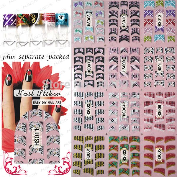 BeautyNailArt 50 Hoja/LOT 3D Glitter Francés Pegatinas nail art 24 diferentes diseños de uñas de arte francés etiqueta engomada del clavo herramienta