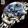 Echt Luxe Zwitserland BINGER Merk Mannen Self-wind Waterdichte Volledige Steel Automatische Mechanische Blauwe Goud Wijzerplaat Tourbillon horloge