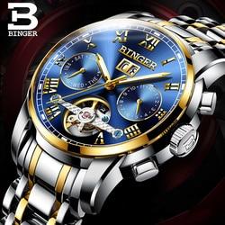 Oryginalna luksusowa szwajcaria BINGER marka mężczyźni self-wiatr wodoodporny pełny stalowy automatyczny mechaniczny turkusowo-złota tarcza zegarek tourbillon