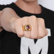 Men's fashion Stainless Steel charm ring Gold Plated round immitate red Agate Vintage Signet Ringsl for Men