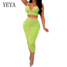 YEYA Fashion Positioning Print Two Pieces Sets Slim Dress Sexy Sleeveless Zipper Top and Bodycon Pencil Summer Retro Wear