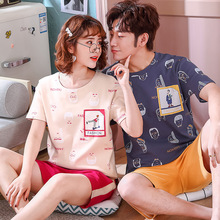 pajamas couple cotton round neck short sleeve suit 2pcs printed casual sleepwear men female lounge set Nighty pink Summer 2019
