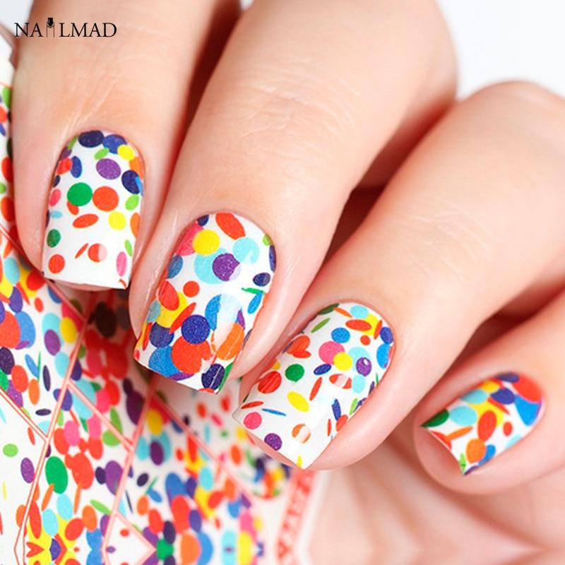 1 sheet polka dots nail water decals