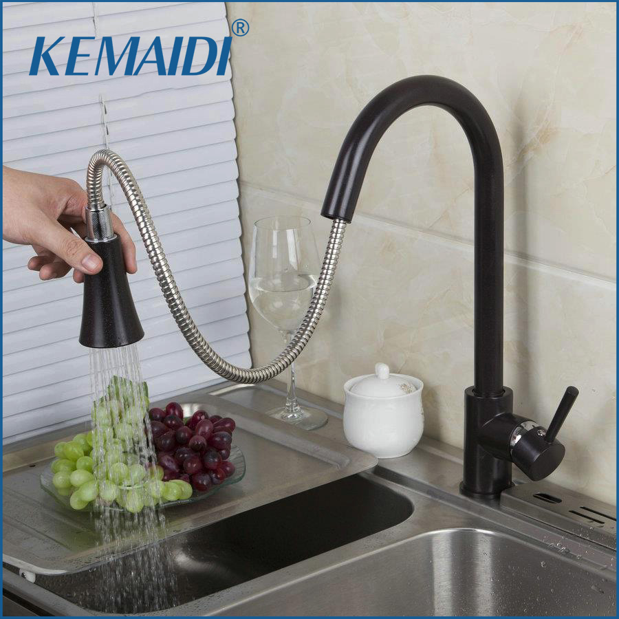 KEMAIDI Modern Oil Rubbed Bronze Soild Brass Pull Out 360 Swivel Singe Handle Bathroom Basin Kitchen Deck Mounted Sink Mixer Tap oil rubbed black bronze finish swivel singe handle bathroom basin kitchen deck mounted sink mixer tap faucet b308