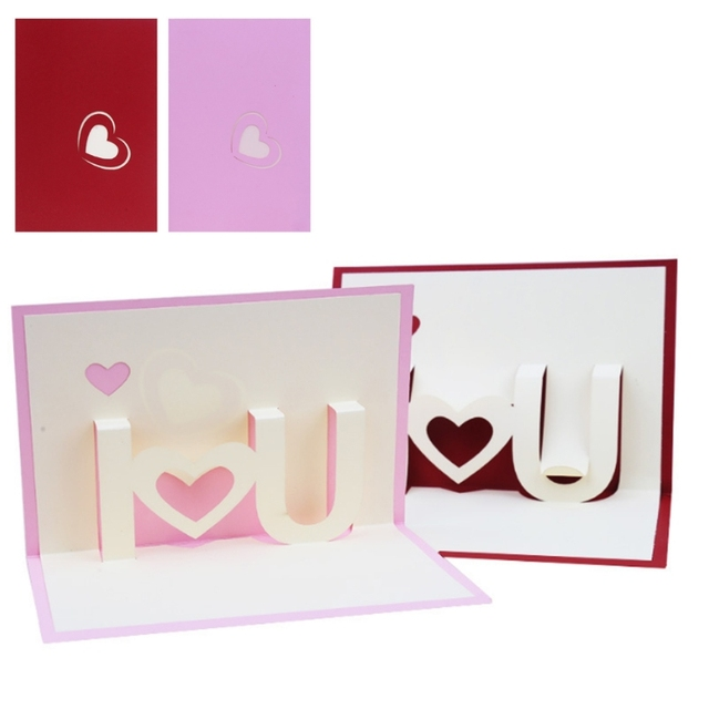 3d I Love You Pop Up Greeting Cards Paper Happy Birthday Lover
