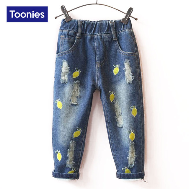 Children Broken Hole Pants Trousers 2017 Baby Boys Girls Jeans Brand Fashion Autumn 2-7Yrs Kids Trousers Children Clothing