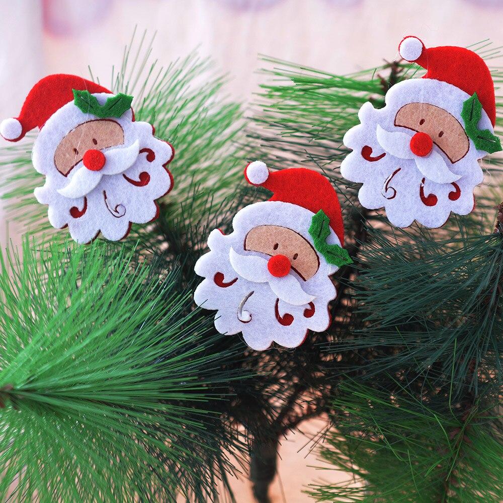 New Year 10Pcs Christmas Decoration Santa Felt Piece Christmas Tree Pendant Clothing Patch natale noel natal kerst navidad