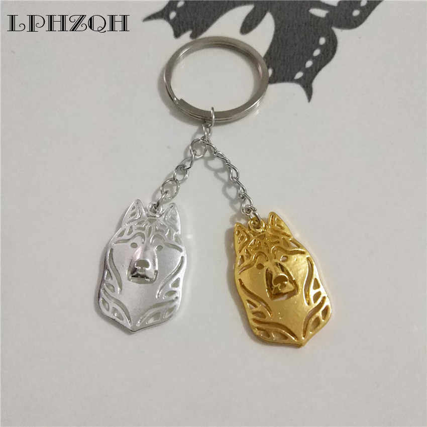 LPHZQH fashion Puppy Siberian Husky dog keychain women handbag pendant charm accessories car Key ring trendy jewelery steampunk