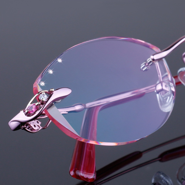 3de3e29022 Rimless eyeglasses diamond trimming eye glasses for women beautiful  temperament prescription glasses myopia hyperopia 28