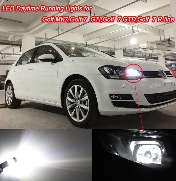 2x Xenon White Error Free PW24W LED Replacement Bulb For Golf MK7 Golf VII rline Golf 7 For Car styling Daytime Running Lights