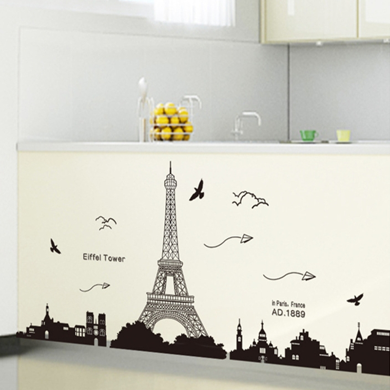 Aliexpress.com : Buy Black PVC Eiffel Tower Wall Stickers Wall Hangings  Living Room Bedroom Background Decoration Home Decor 185 Cm * 70 Cm From  Reliable ... Part 51