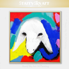 Gifted Artist Hand-painted High Quality Abstract Sheep Oil Painting on Canvas Colorful Animal for Living Room