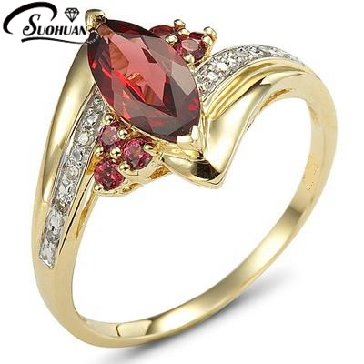 2016 new female ring jewelry lady39s wedding garnet women39s for Wedding gold rings for women