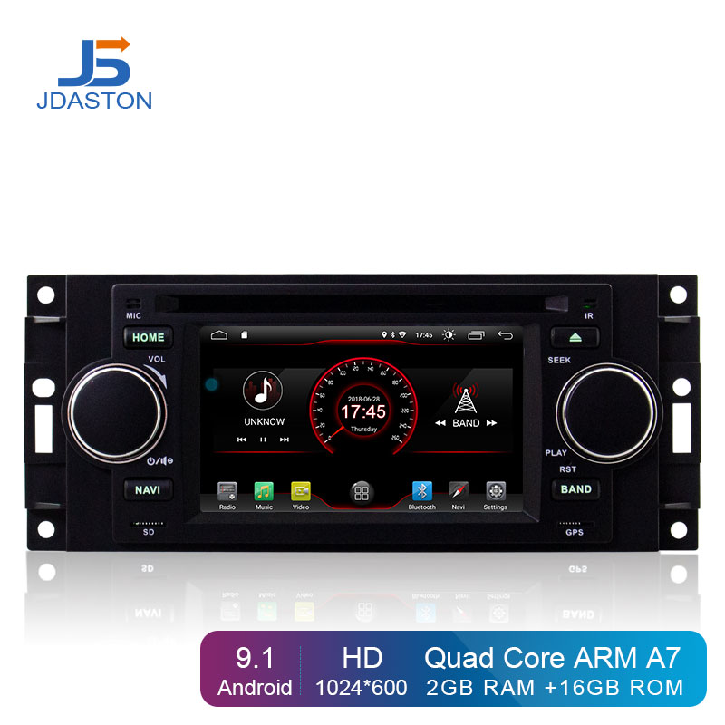 JDASTON Android 9.1 Jogador Do Carro DVD Para Jeep Grand Cherokee Wrangler Comandante 300C Chrysler PT Cruiser Sebring Dodge Caliber RAM