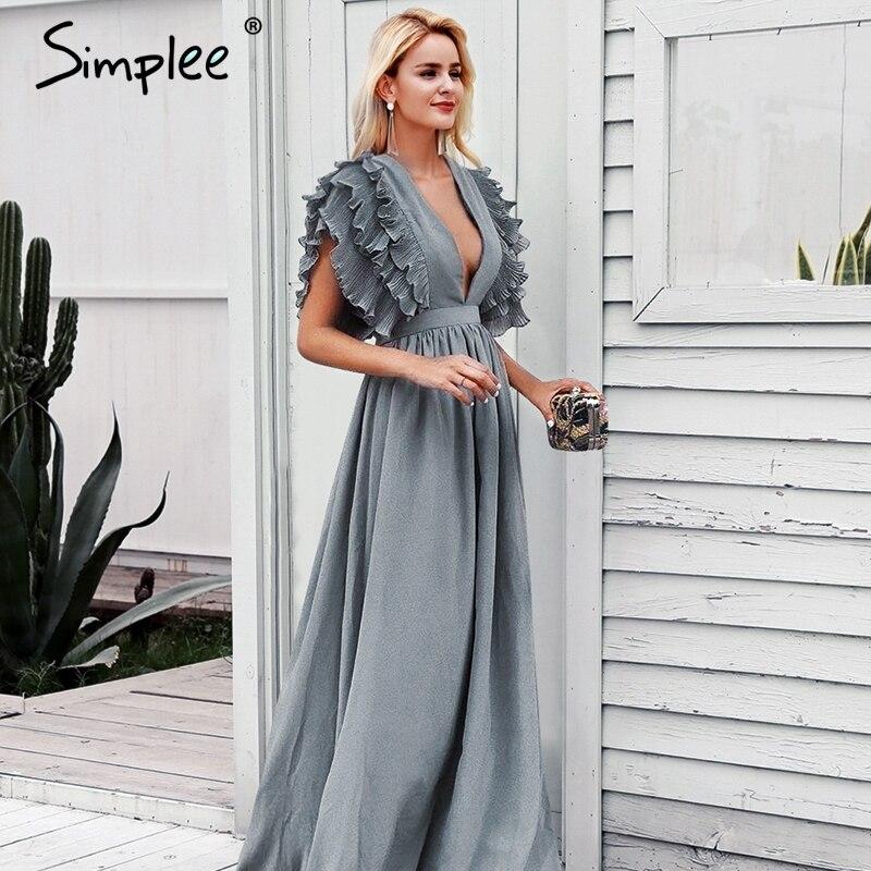 Женское длинное вечернее платье Simplee, привлекательное элегантное платье с v образным вырезом и рюшами, женское платье макси с высокой талией для вечеринок, 6 цветов
