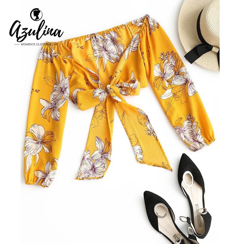 AZULINA Floral Print Cropped Wrap   Blouse   Girls 2018 Summer Boho Off Shoulder Flower Bow Knot Women Crop   Blouses     Shirts   Blusas