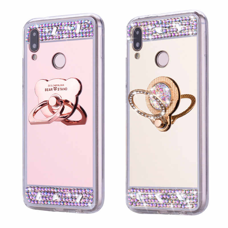 3D Cermin Glitter Ring Cover untuk Huawei P30 Pro Lite Y7 2019 Y6 Y9 P Smart Z 2019 Kehormatan 10i Lembut Silicone Armor Ponsel Case