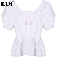 EAM 2018 Spring Summer New Fashion Solid Sexy V Neck Collar Short Sleeve Ruffles Casual
