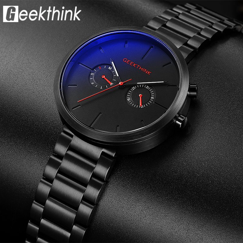 GEEEKTHINK Top Brand Quartz Watch Men's Fashion Full Stainless steel Casual Wrist Watches Imported Movement Waterproof Date Week