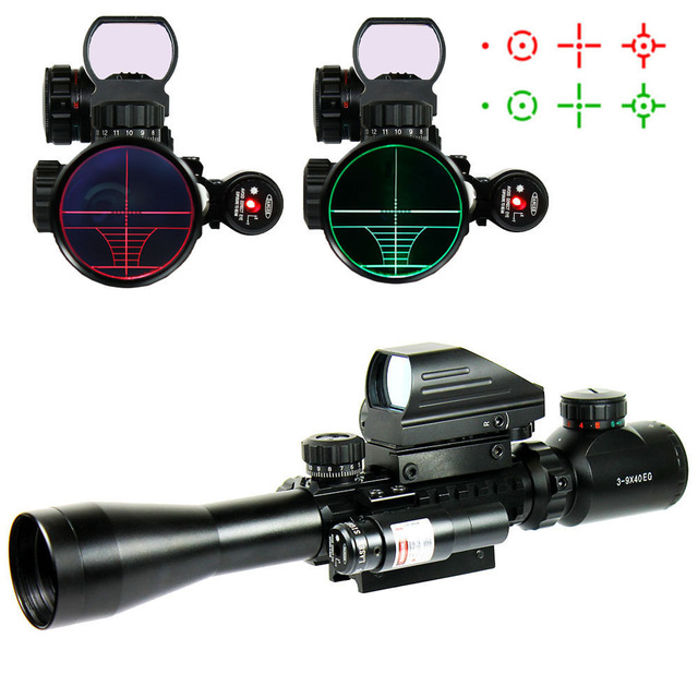 Hunting Optics C 3-9X40 EG Red / Green Illuminated Riflescope Airsoft Weapon Rifle  Scope With Red Laser + Holographic Dot Sight hunting red dot sight tactical 3 9x40dual illuminated mil dot rifle scope with green laser sight combo airsoft weapon sight