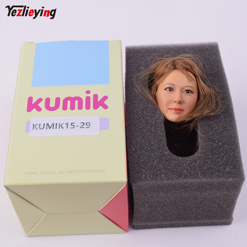 1/6 Scale Brown Hair KUMIK 15-29 Head Sculpture Model Carving Fit 12 Inch Phicen Action Figure HT TTL Toys Can Collection