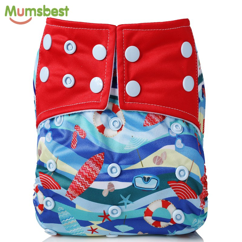 [Mumsbest] New Baby Cloth Diapers Pocket Waterproof Diaper Cover Reusable One Size Fit All Babies Cloth Nappies Beach Series