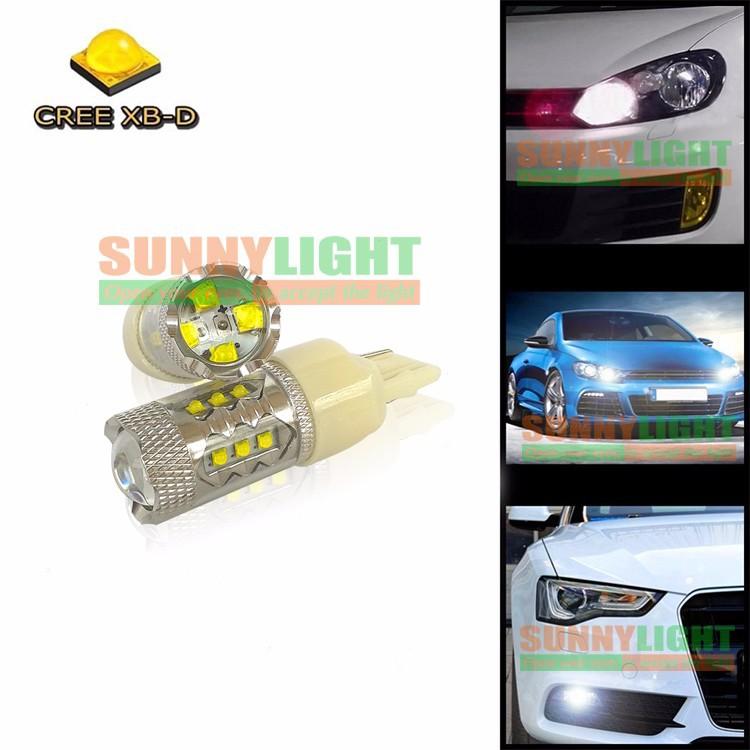 2X 7440 7443 W21 5W T20 CREE XB-D 16 SMD 80W Wedge Car Brake Stop Reverse Turn Signal LED Bulb 12V Xenon White (9)