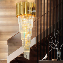 Современная Большая Хрустальная люстра для отелей светильник роскошный золотой Ресторан Свадебные лестницы чехол Cristal люстры подвесной светильник ing