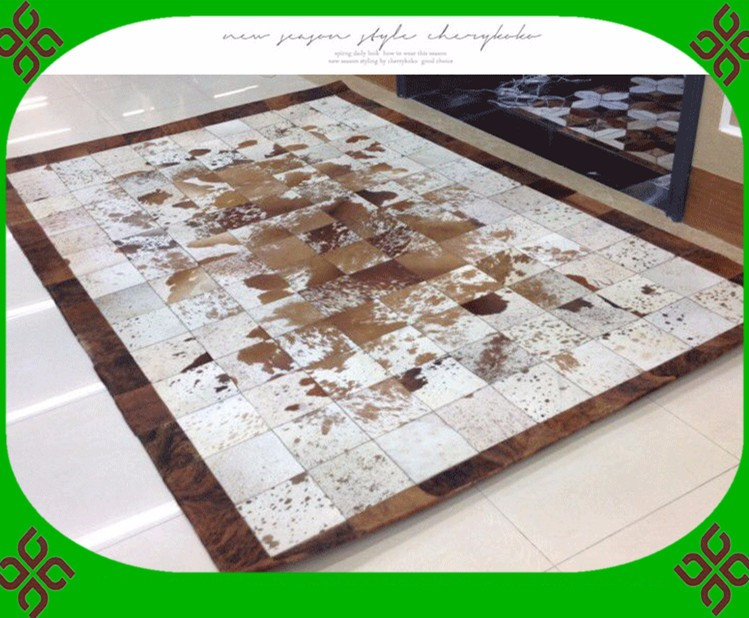 free shipping 100 natural genuine cowhide cotton washable rugs - Washable Rugs