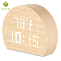 Mrosaa Semicircle Wooden LED Digital Alarm Clock Voice Control Time Temperature Humidity Display Table clock for Home Decoration