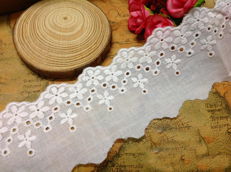 10 yard 5cm 1.96 wide ivory fabric cotton embroidery lace trim ribbon SL4K594
