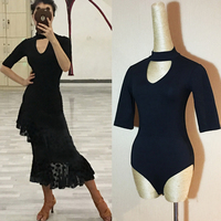 Free Shipping Dancewear Ladies Bodysuit Practice Dancewear sexy gauze half sleeves latin dance body top for women half sleeves