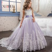 Princess Ball Gown Lace Flower Girl Dresses 2018 White Applique Girls Pageant Dress First Communion Dresses Wedding Party Gown