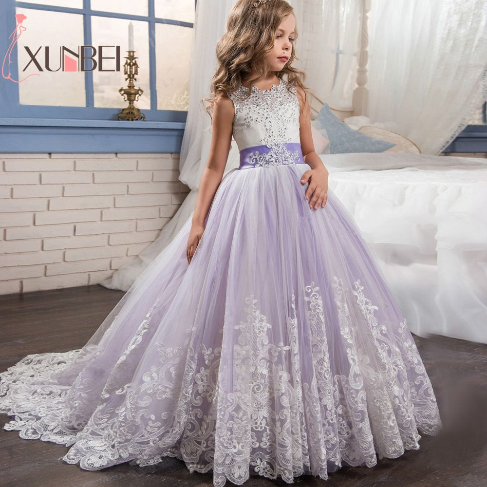 Princess Ball Gown Lace   Flower     Girl     Dresses   2019 White Applique   Girls   Pageant   Dress   First Communion   Dresses   Wedding Party Gown