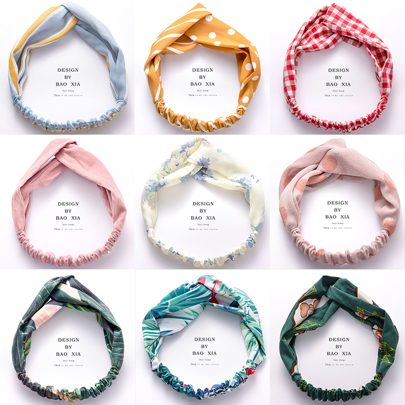 1PC 2019 New Fashion Women Print Headbands Cross Knot Elastic Headband Girls Sweet Bandanas   Headwear   Hair bands Hair Accessories