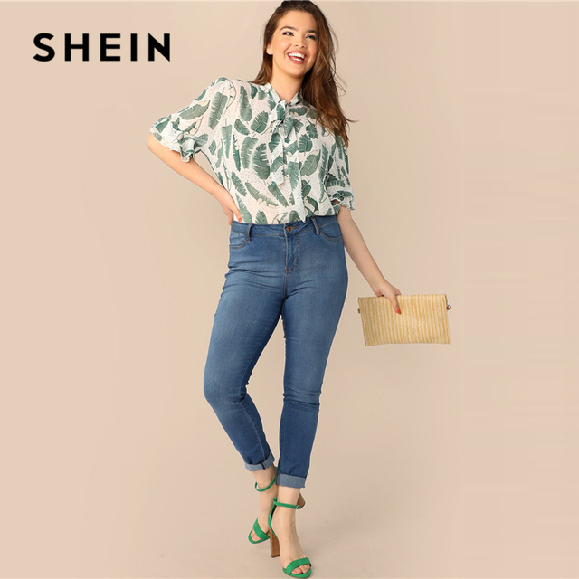 SHEIN Plus Size Multicolor Tie Neck Ruffle Trim Tropical Print Top Blouse 2019 Women Summer Boho Stand Collar Half Sleeve Blouse 3
