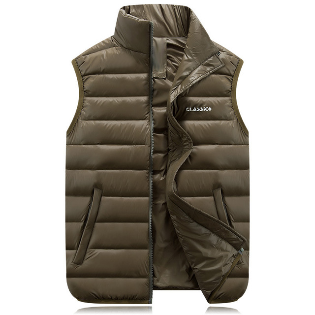 4edf85c7357a23 Male Men s 2017 Down Jacket Vest Stand Color Lightweight Sleeveless Outwear  Waistcoat Winter Autumn Jacket Coat